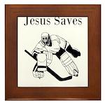 Jesus Saves - Hockey 3 Framed Tile