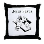Jesus Saves - Hockey 3 Throw Pillow