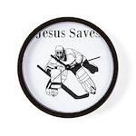 Jesus Saves - Hockey 3 Wall Clock