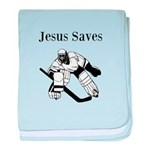 Jesus Saves - Hockey 3 baby blanket