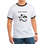Jesus Saves - Hockey 3 Ringer T