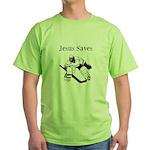 Jesus Saves - Hockey 3 Green T-Shirt