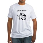 Jesus Saves - Hockey 3 Fitted T-Shirt