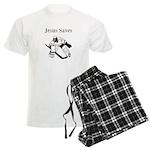 Jesus Saves - Hockey 3 Men's Light Pajamas