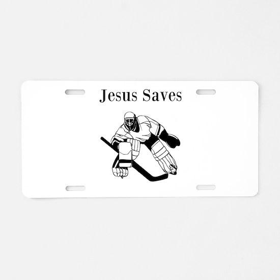 Jesus Saves - Hockey 3 Aluminum License Plate