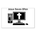 Jesus Saves Often Sticker (Rectangle 10 pk)