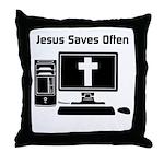 Jesus Saves Often Throw Pillow