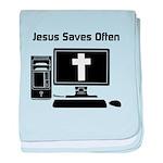 Jesus Saves Often baby blanket