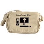 Jesus Saves Often Messenger Bag