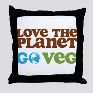 Love the Planet Go Veg Throw Pillow
