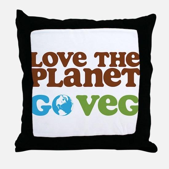 Love the Planet Go Veg Throw Pillow