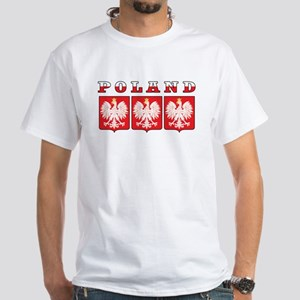 Poland Flag Eagle Shields White T-Shirt