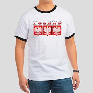 Poland Flag Eagle Shields Ringer T