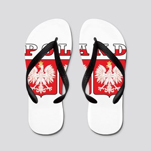 Poland Flag Eagle Shields Flip Flops