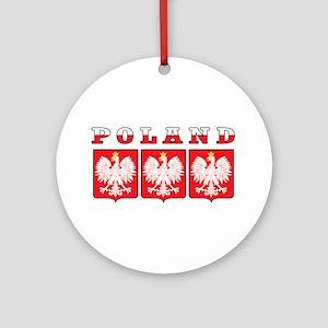 Poland Flag Eagle Shields Ornament (Round)