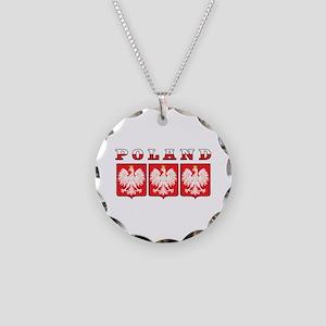 Poland Flag Eagle Shields Necklace Circle Charm