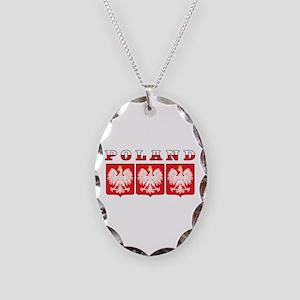 Poland Flag Eagle Shields Necklace Oval Charm