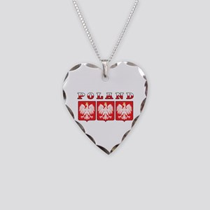 Poland Flag Eagle Shields Necklace Heart Charm