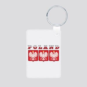 Poland Flag Eagle Shields Aluminum Photo Keychain