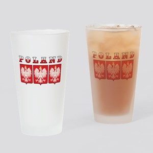 Poland Flag Eagle Shields Drinking Glass