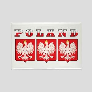Poland Flag Eagle Shields Rectangle Magnet