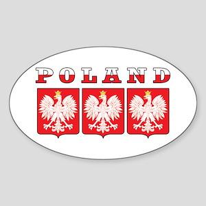 Poland Flag Eagle Shields Sticker (Oval)