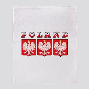 Poland Flag Eagle Shields Throw Blanket