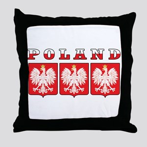 Poland Flag Eagle Shields Throw Pillow