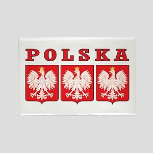 Polska Eagle Shields Rectangle Magnet