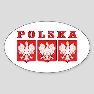 Polska Eagle Shields Sticker (Oval)