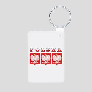 Polska Flag Eagle Shields Aluminum Photo Keychain