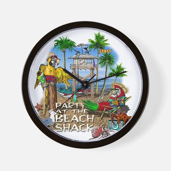 Parrots Beach Party Wall Clock