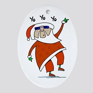 Hip Santa Ornament (Oval)