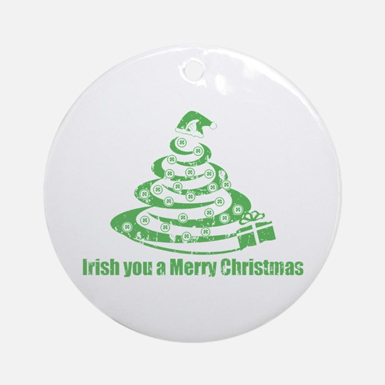 Irish you a Merry Christmas Ornament (Round)
