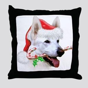 White German Shepherd Christmas Throw Pillow