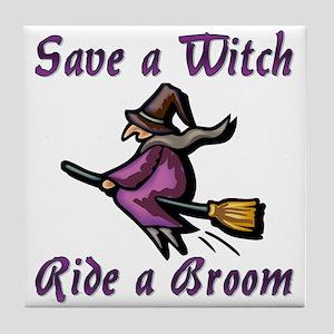 Ride a Broom Tile Coaster