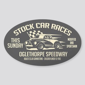 Stock Car Races Sticker (Oval)