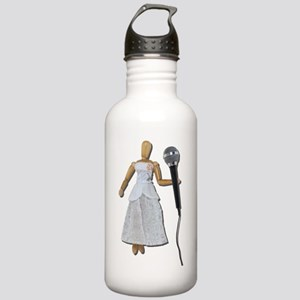 Woman Using Audio Microphone Stainless Water Bottl