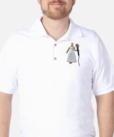 Woman Using Audio Microphone Golf Shirt
