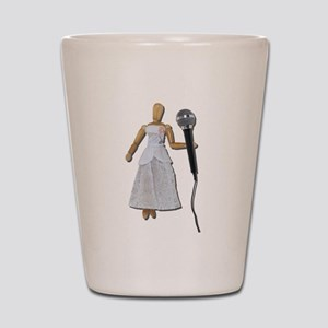 Woman Using Audio Microphone Shot Glass