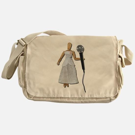 Woman Using Audio Microphone Messenger Bag