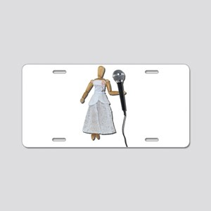 Woman Using Audio Microphone Aluminum License Plat