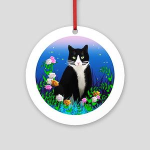 Tuxedo Cat Ornament (Round)