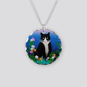 Tuxedo Cat Necklace Circle Charm