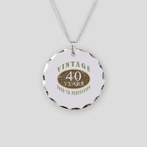 Vintage 40th Birthday Necklace Circle Charm
