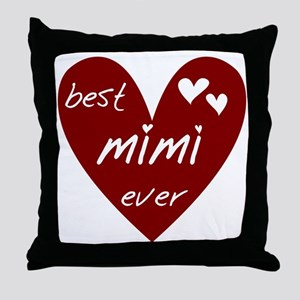 Heart Best Mimi Ever Throw Pillow