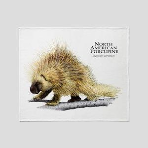 North American Porcupine Throw Blanket