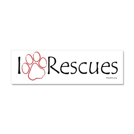 """I Paw (love) Rescues"" Magnet 10 x 3"