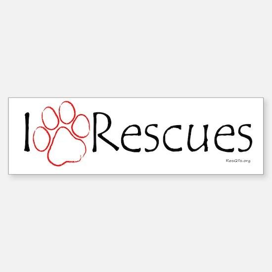 """""""I Paw (love) Rescues"""" Sticker (Bumper)"""