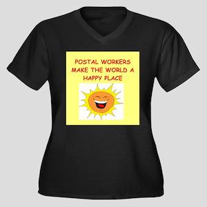 mailmen Women's Plus Size V-Neck Dark T-Shirt